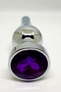 Ocelový anální kolík s kamínkem podlouhlý - tmavě fialový