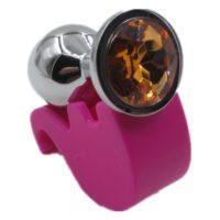 Ocelový anální kolík s kamínkem velikost L - oranžový