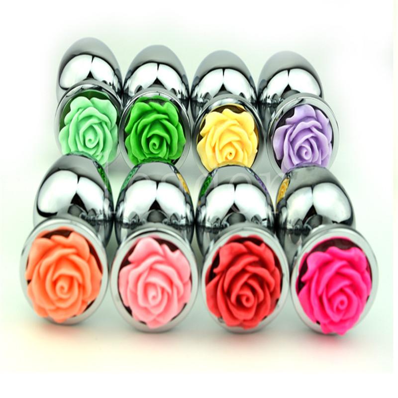 Ocelový anální kolík s růží velikost S - světle růžová