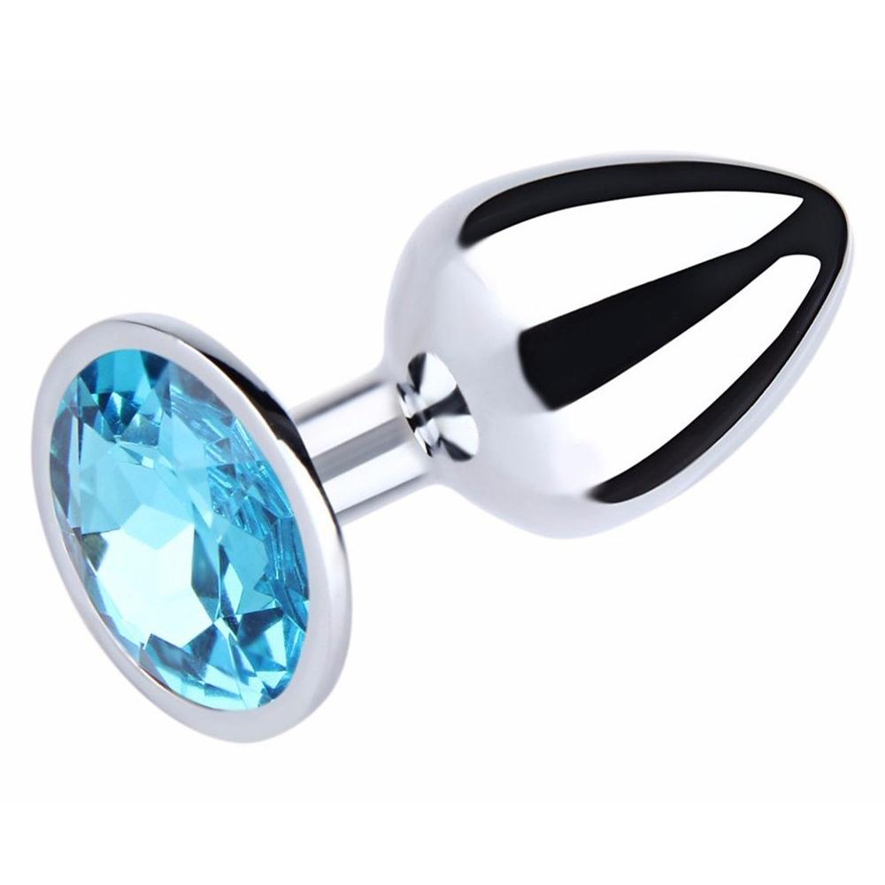 Ocelový anální kolík s kamínkem velikost S - světle modrý